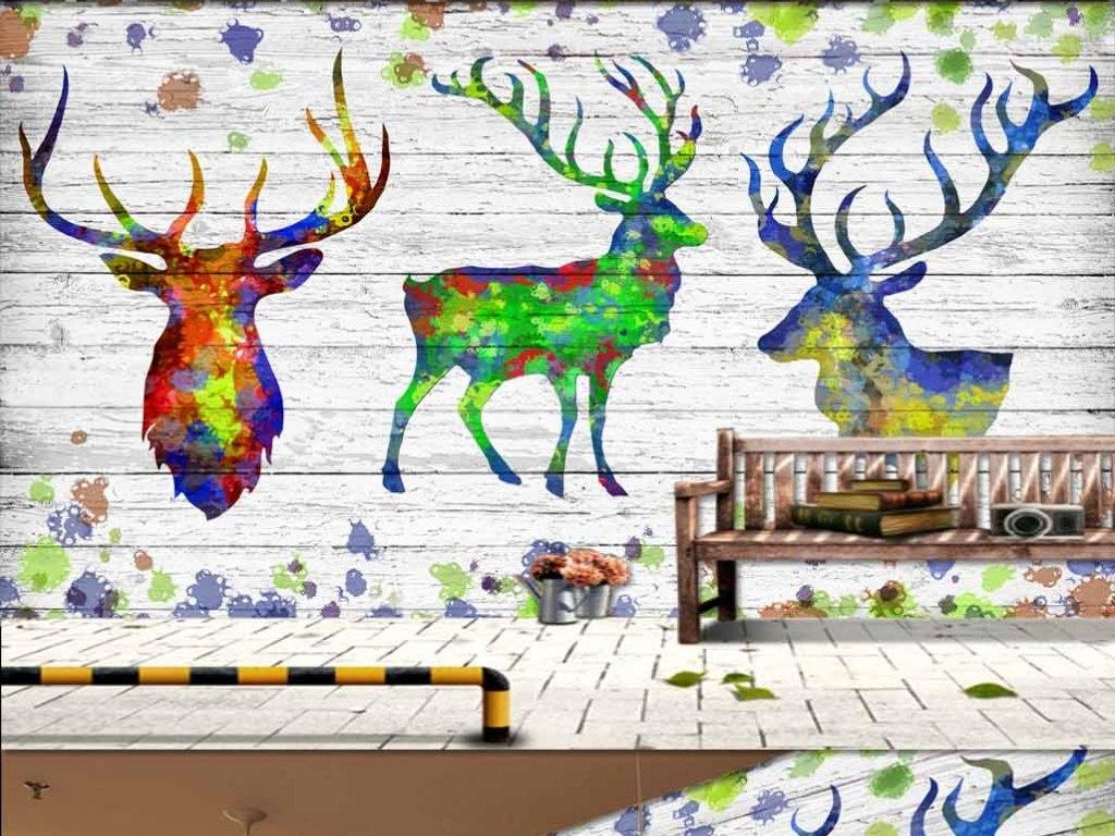 高清炫彩麋鹿梅花鹿木板ktv背景墙