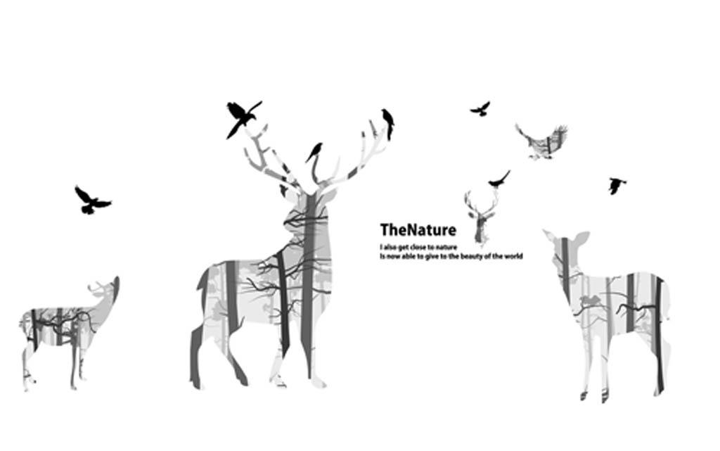 素描砖墙灰色白色墙壁简约剪影森林驯鹿鹿梅花鹿鸟飞鸟树抽象麋鹿时尚
