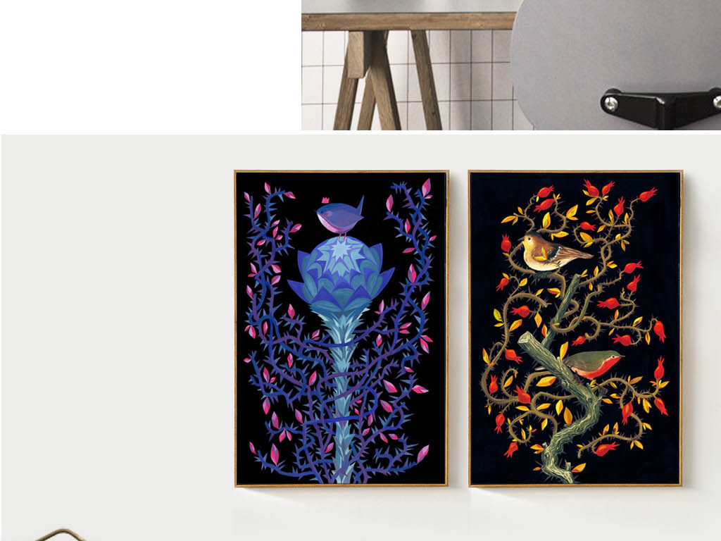 北欧风格抽象手绘花鸟油画装饰画有框画