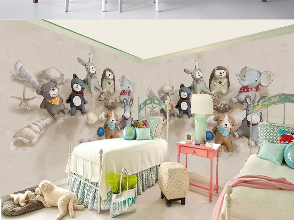 手绘北欧卡通沙滩玩偶儿童房电视背景墙