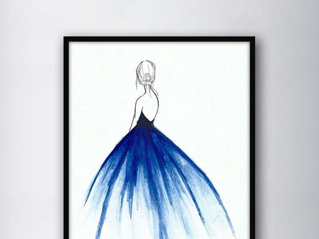 手绘美女美女装饰画裙红裙公主裙裙舞儿童公主裙牛仔
