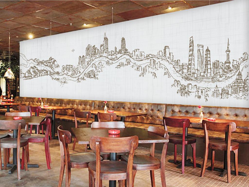 手绘城市道路建筑上海全景图大型壁画