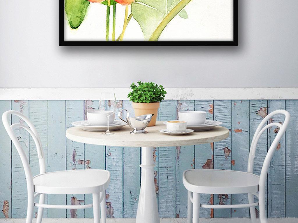 红花绿叶北欧现代欧式花卉家居装饰画