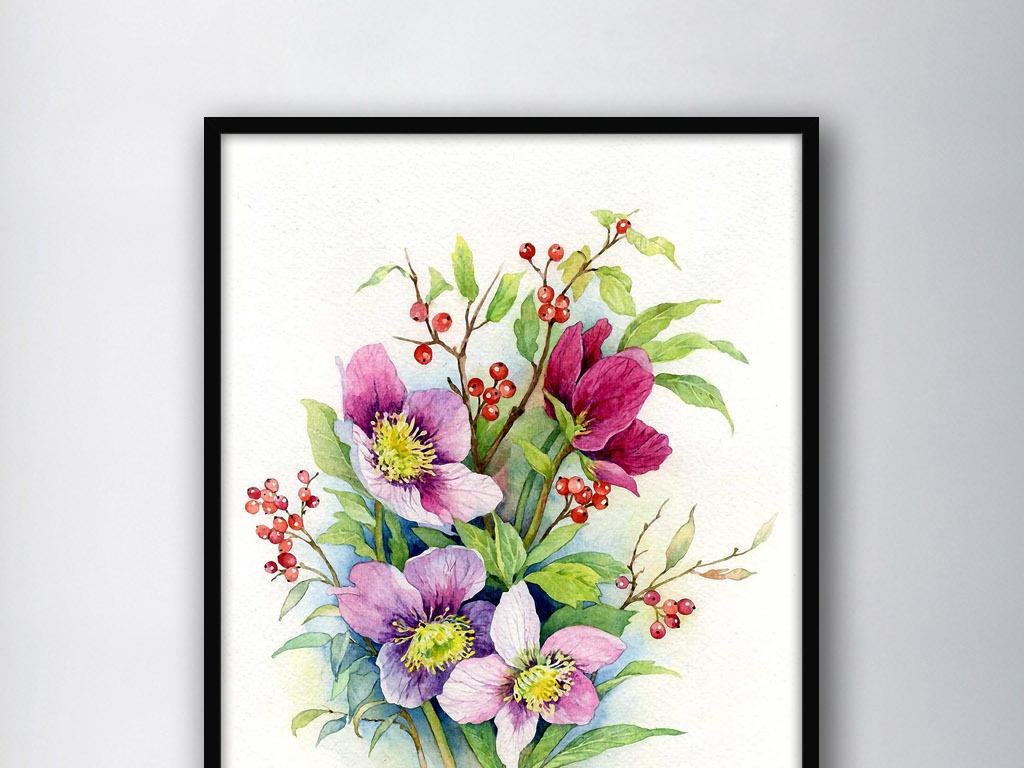装饰画欧式现代现代花卉花卉花朵花卉背景梦幻花卉手绘花卉线描花卉