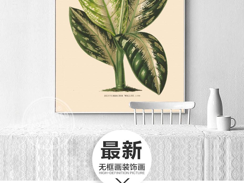 手绘绿色清新热带植物无框画