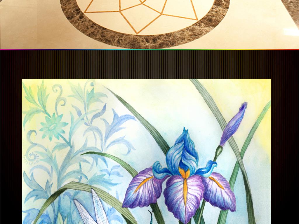 手绘卡通花卉虹膜花蜻蜓走廊过道玄关