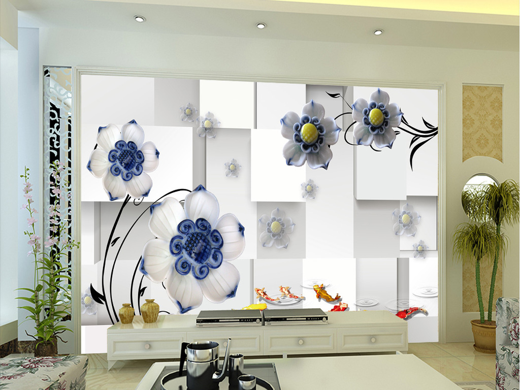 3d立体陶瓷花电视背景墙
