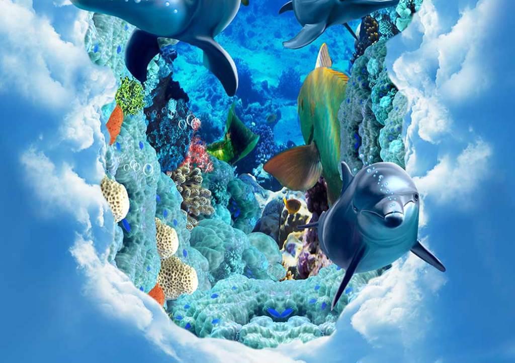 创意云中海底世界海豚3d立体画地板地砖