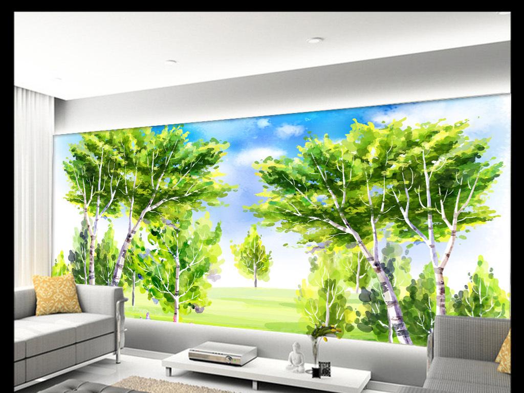 唯美绿色抽象清新风景手绘背景墙装饰画