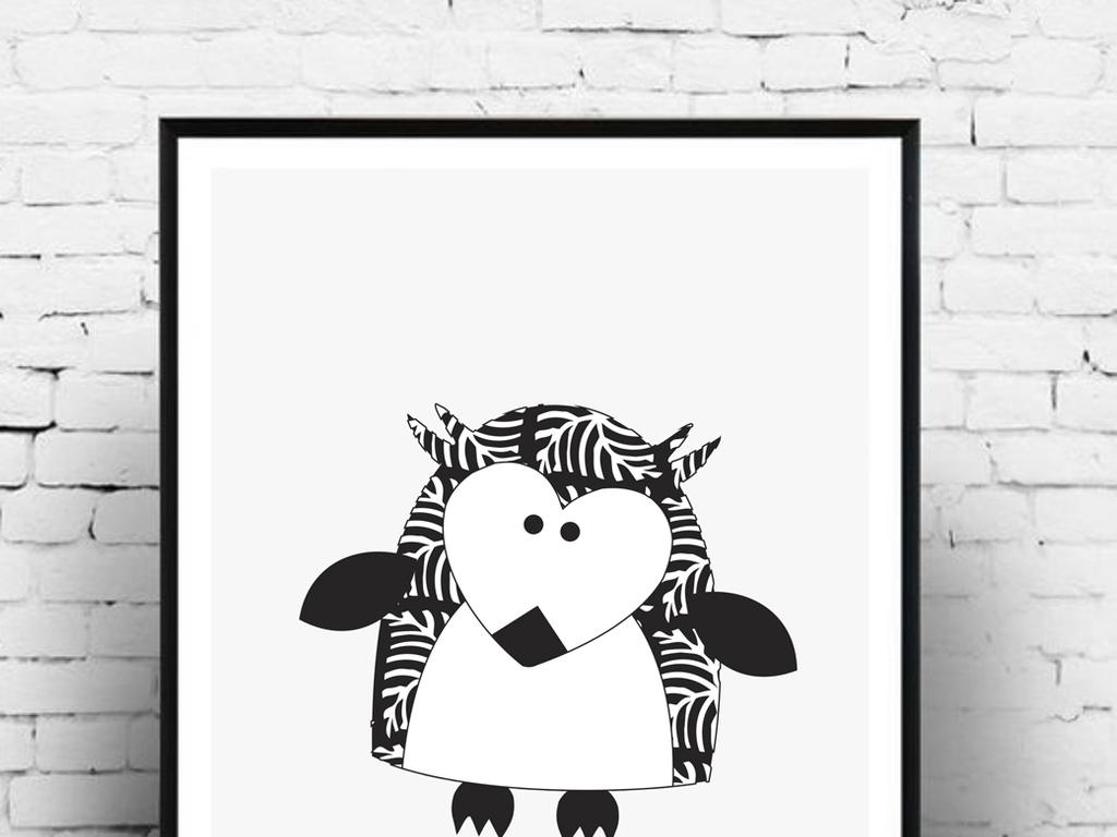 猫头鹰卡通动物黑白卡通风格卡通风格卡通黑白ai格式ai文件ai源文件a