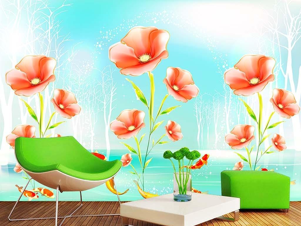 梦幻森林手绘花朵电视背景墙