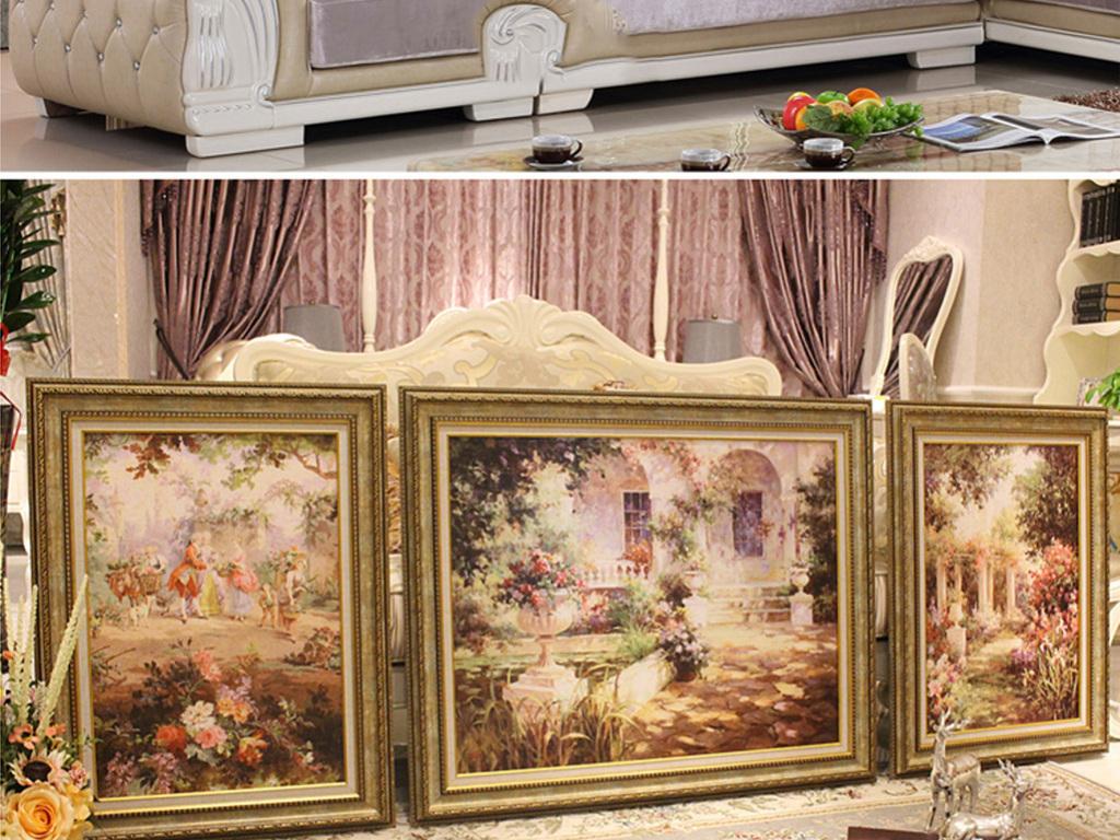 我图网提供精品流行吉维尼花园欧式风景油画三