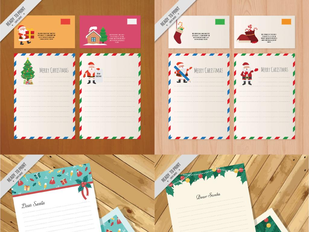 圣诞节圣诞元素信纸贺卡模板图片