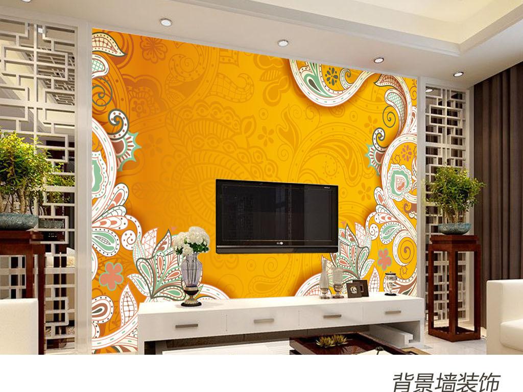 框底纹欧式方格菱形花卉手绘壁画墙纸壁纸米黄黄色