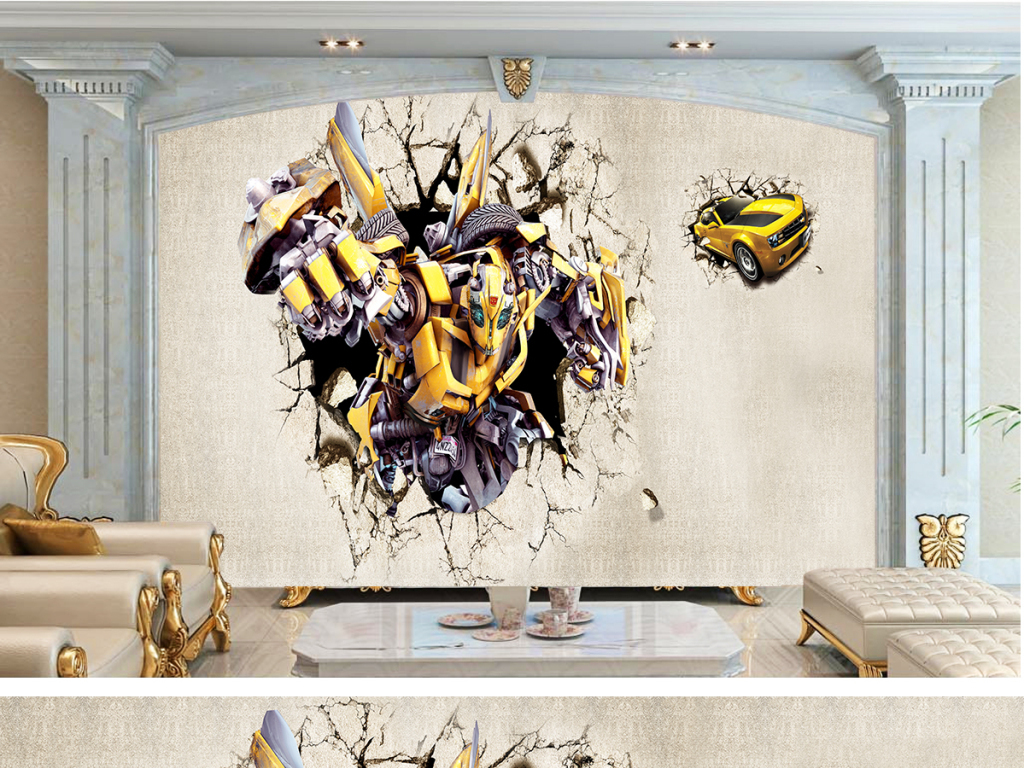 3d机器人卡通壁画