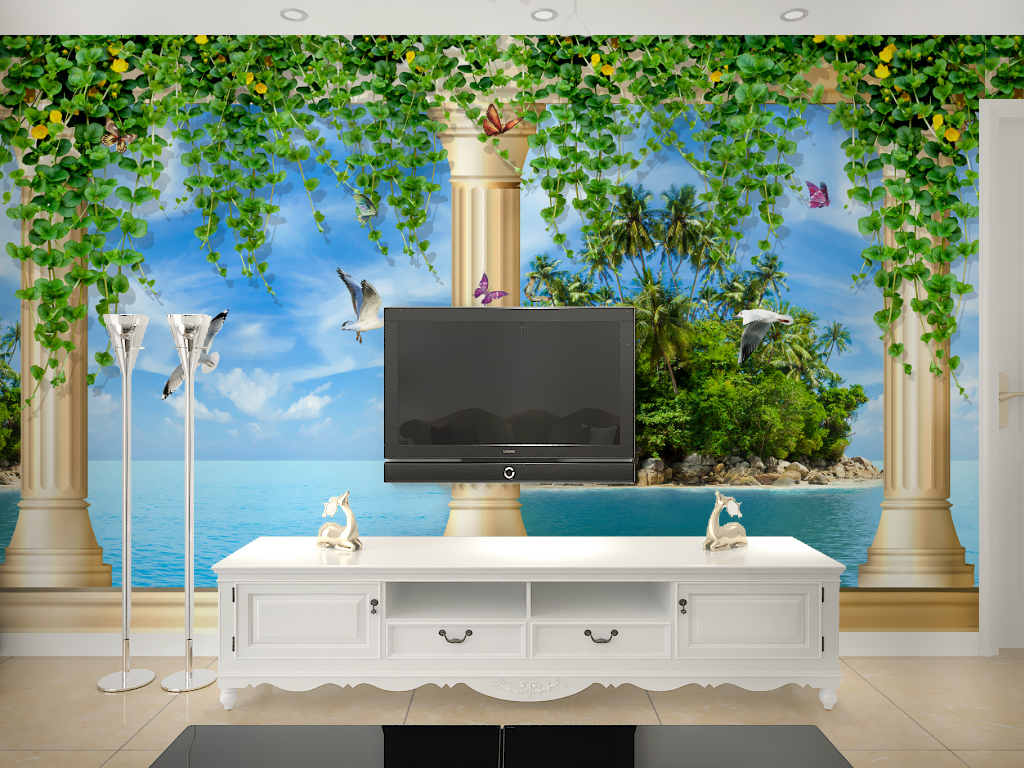 欧式罗马柱花藤地中海电视背景图片设计素材_高清psd图片