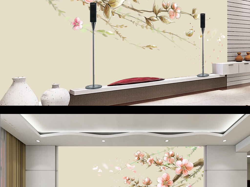 新中式手绘电视背景墙图片玻璃电视背景墙图片客厅