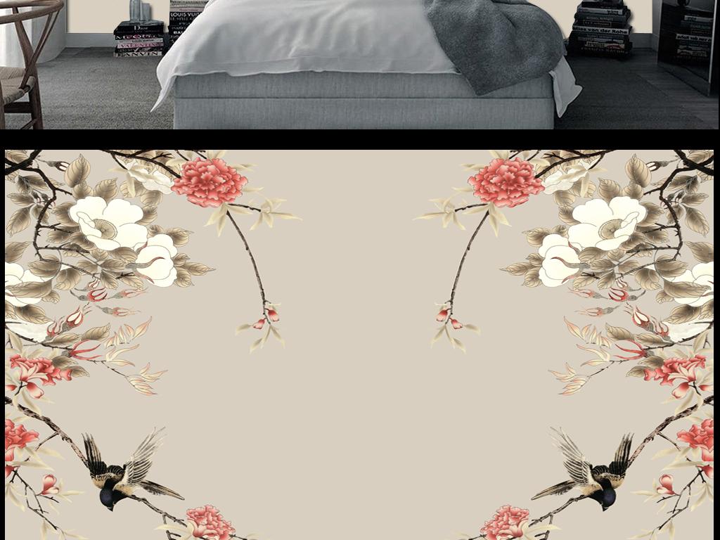 背景墙|装饰画 电视背景墙 手绘电视背景墙 > 新中式手绘花鸟牡丹花电