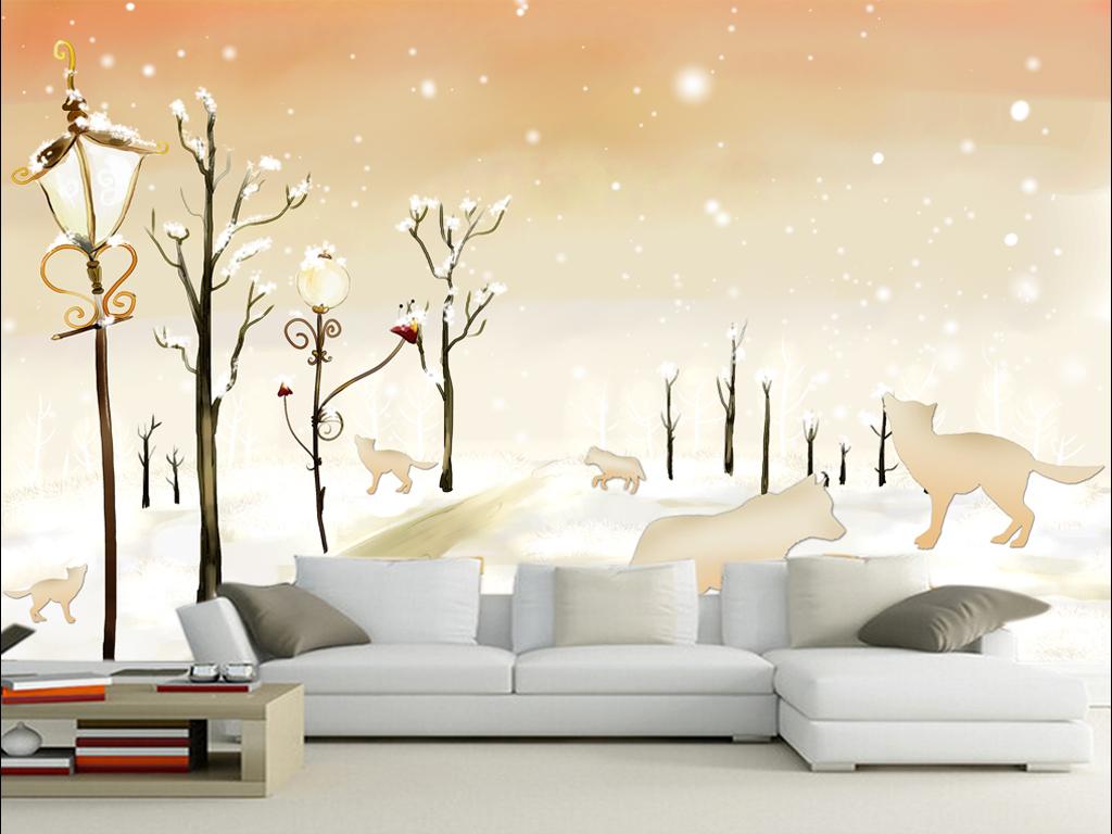手绘雪中狼电视背景墙装饰画