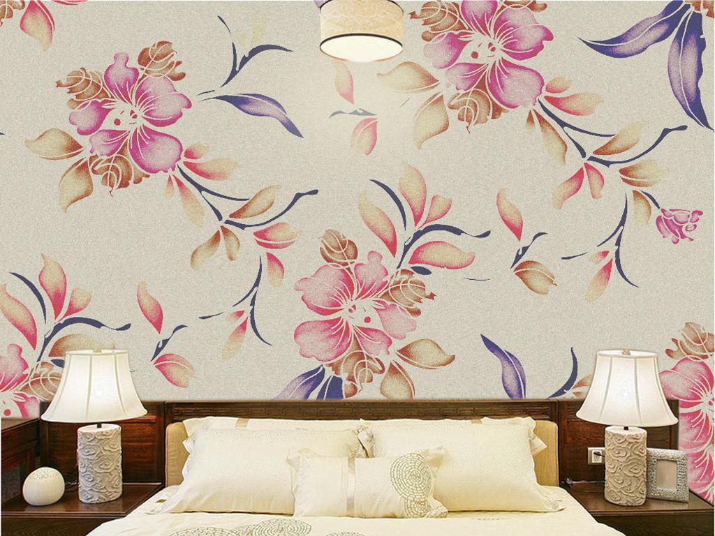 手绘小清新森系叶子花草小花番茄花朵花朵背景墙高清