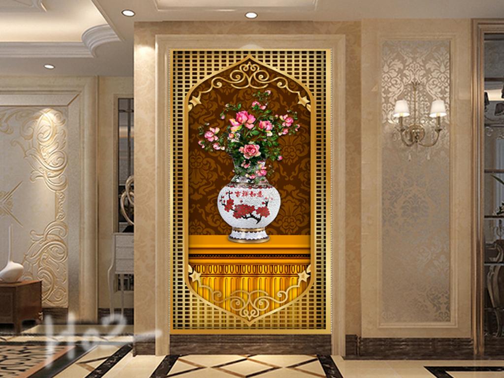 花瓶玄关欧式花瓶过道背景墙艺术金色浮雕玄关图玄关