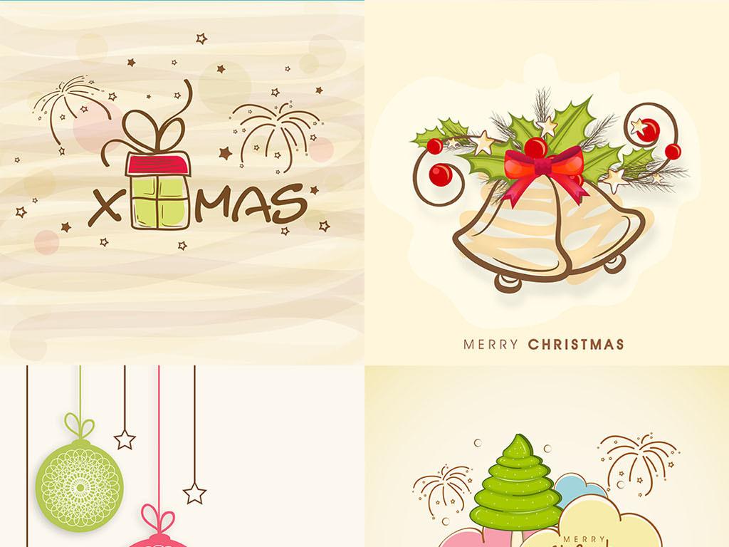 平面|广告设计 节日设计 圣诞节 > 108款华丽手绘圣诞节矢量元素背景