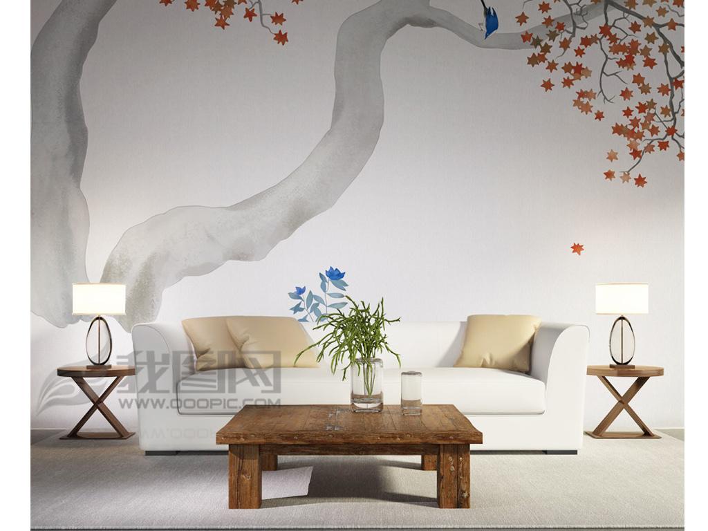 现代新中式日式花鸟画背景墙装饰画(图片编号:)_手绘