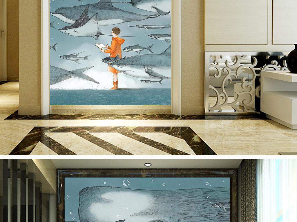 北欧现代手绘海底生物海