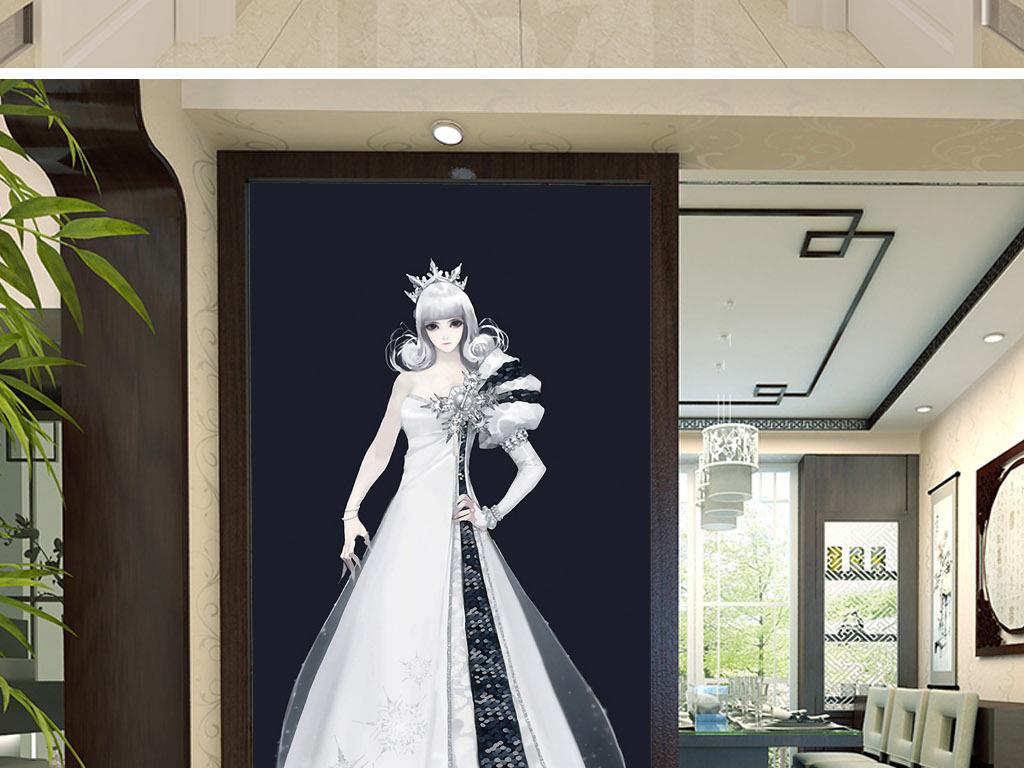 北欧公主手绘欧式现代人物客厅玄关装饰画