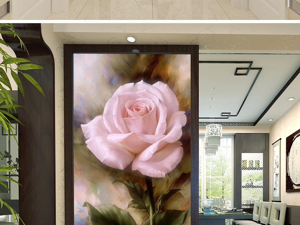 粉红玫瑰花欧式复古怀旧艺术客厅玄关装饰画