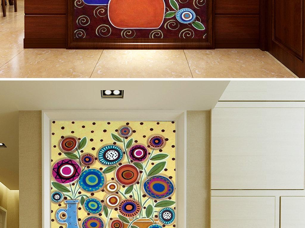 欧式复古花卉静物抽象现代家居玄关装饰画