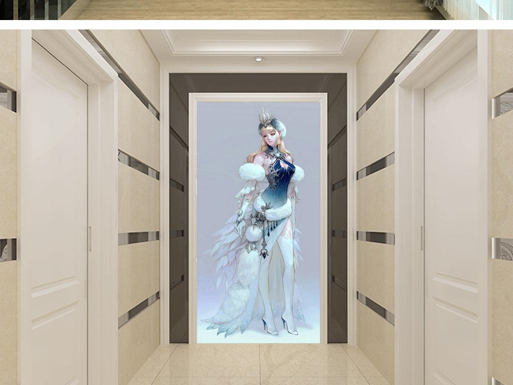 狐妖精灵创意手绘人物现代家居客厅玄关壁画
