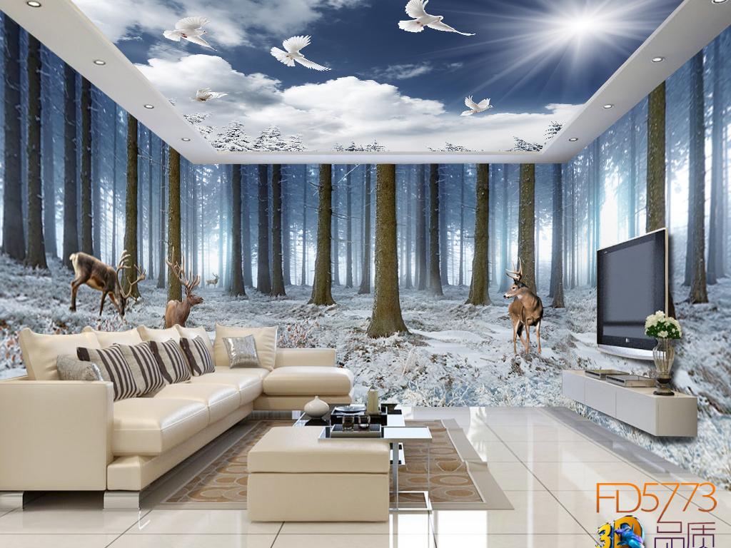 我图网3d欧式风景电视墙图片