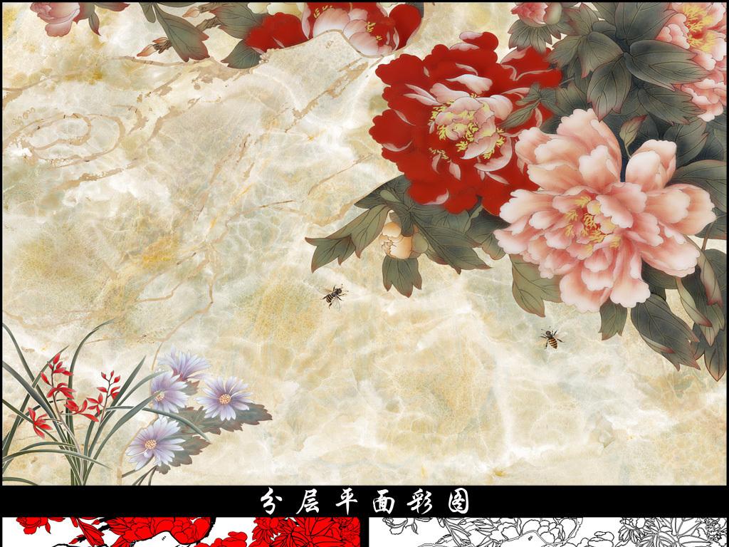 牡丹兰花中式电视背景墙