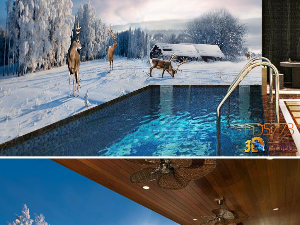 唯美天空雪地森林麋鹿主题空间全屋背景墙