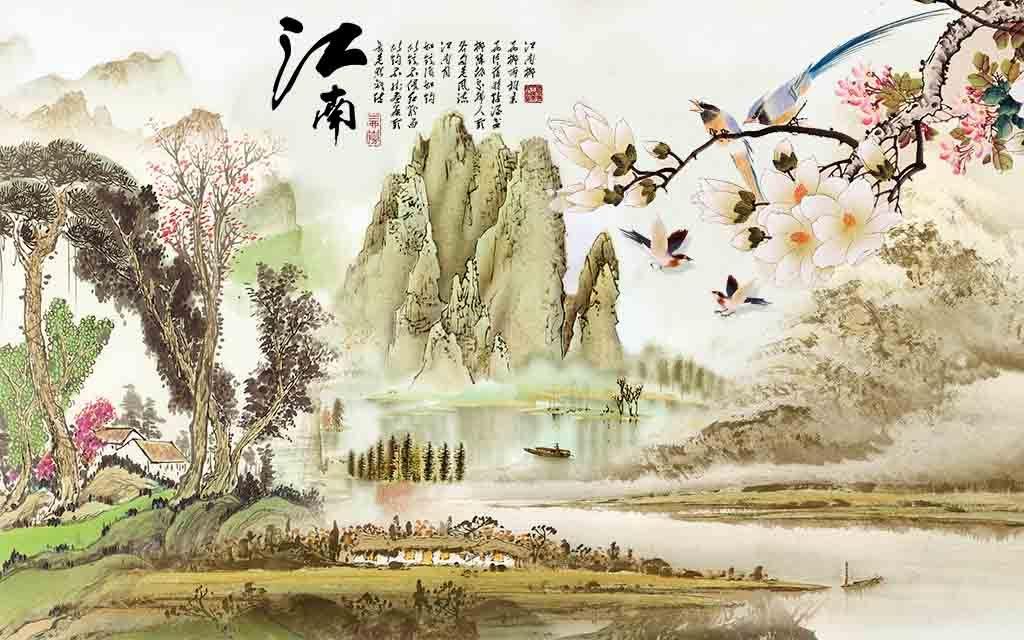 高清江南山水兰花系列背景墙