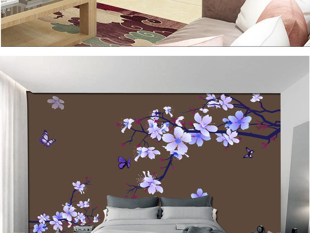 我图网提供精品流行蓝色花卉电视床头背景
