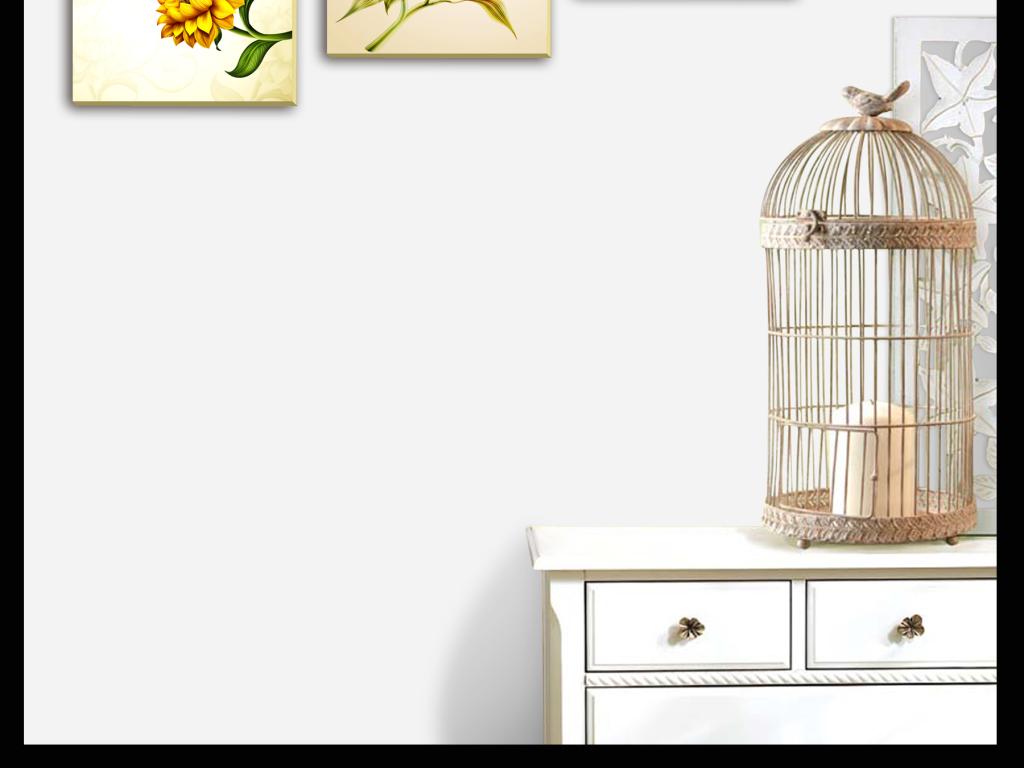 手绘水彩花鸟工笔美工三联无框画