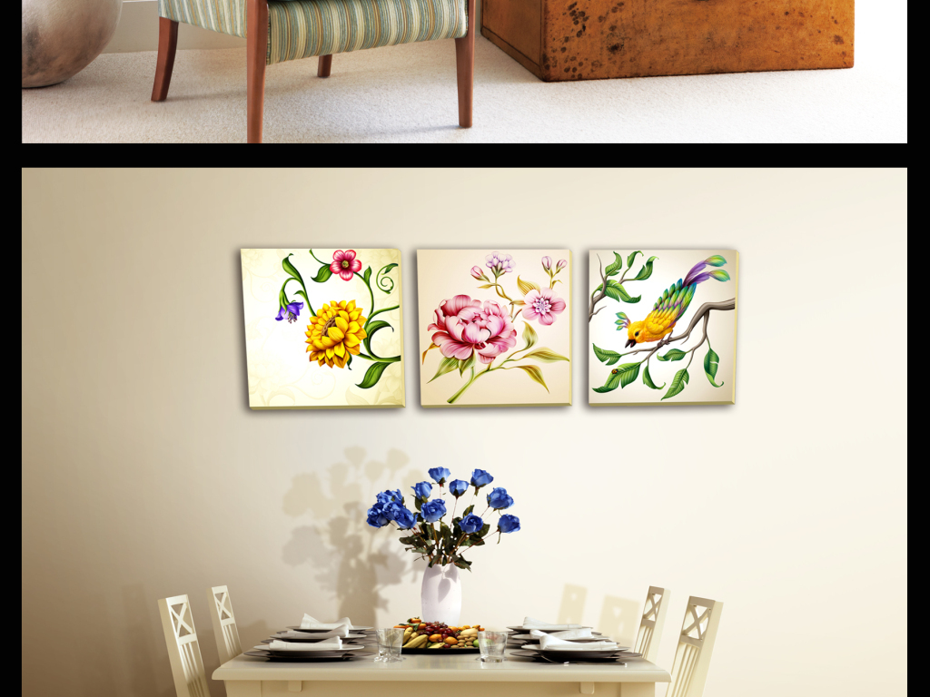 背景墙|装饰画 无框画 植物花卉无框画 > 手绘水彩花鸟工笔美工三联无图片