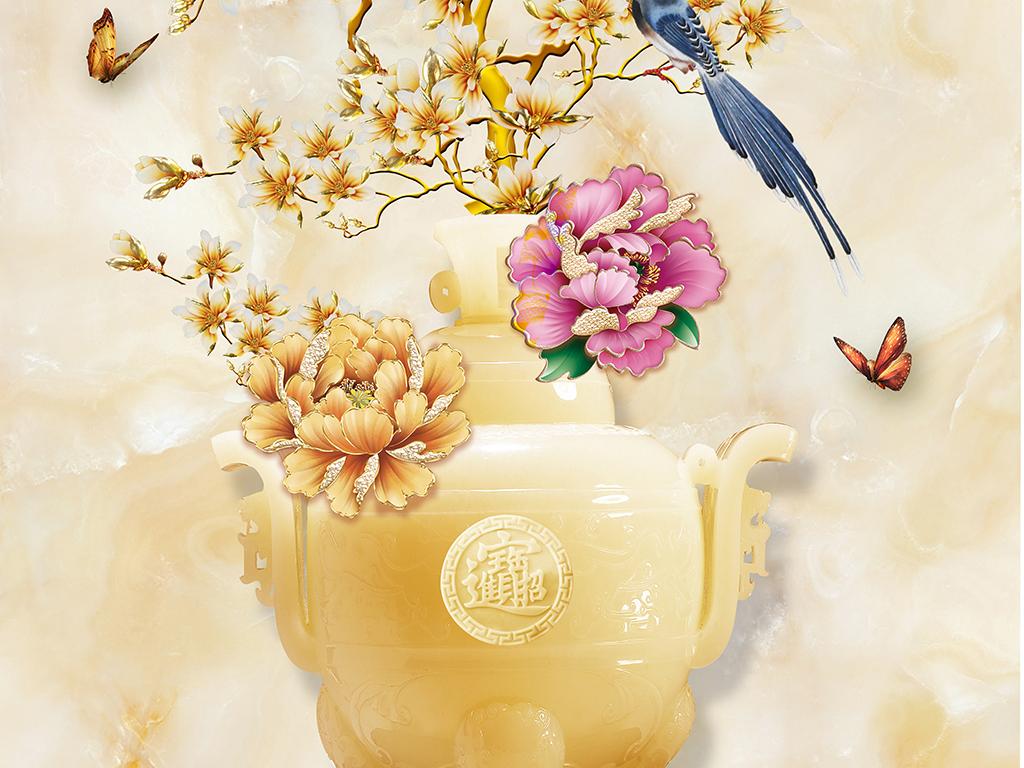 流行大理石纹玉雕玉兰花花瓶家和玄关背景素材下载