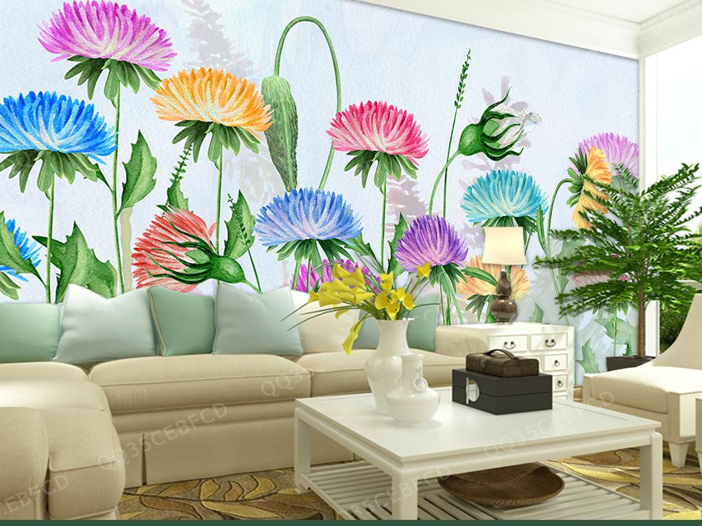 设计作品简介: 手绘花卉背景墙 位图, rgb格式高清大图,使用软件为