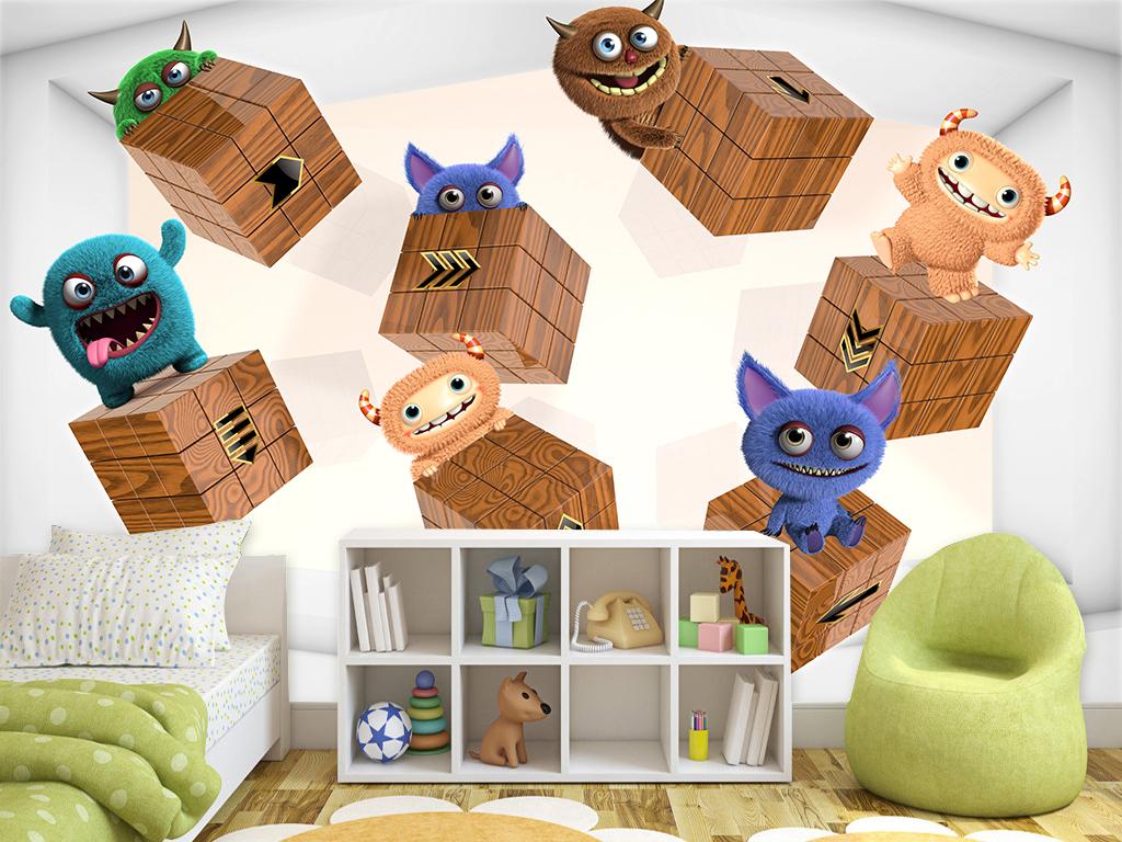 壁纸电视背景墙装饰画游乐场幼儿园玩具可爱现代高清