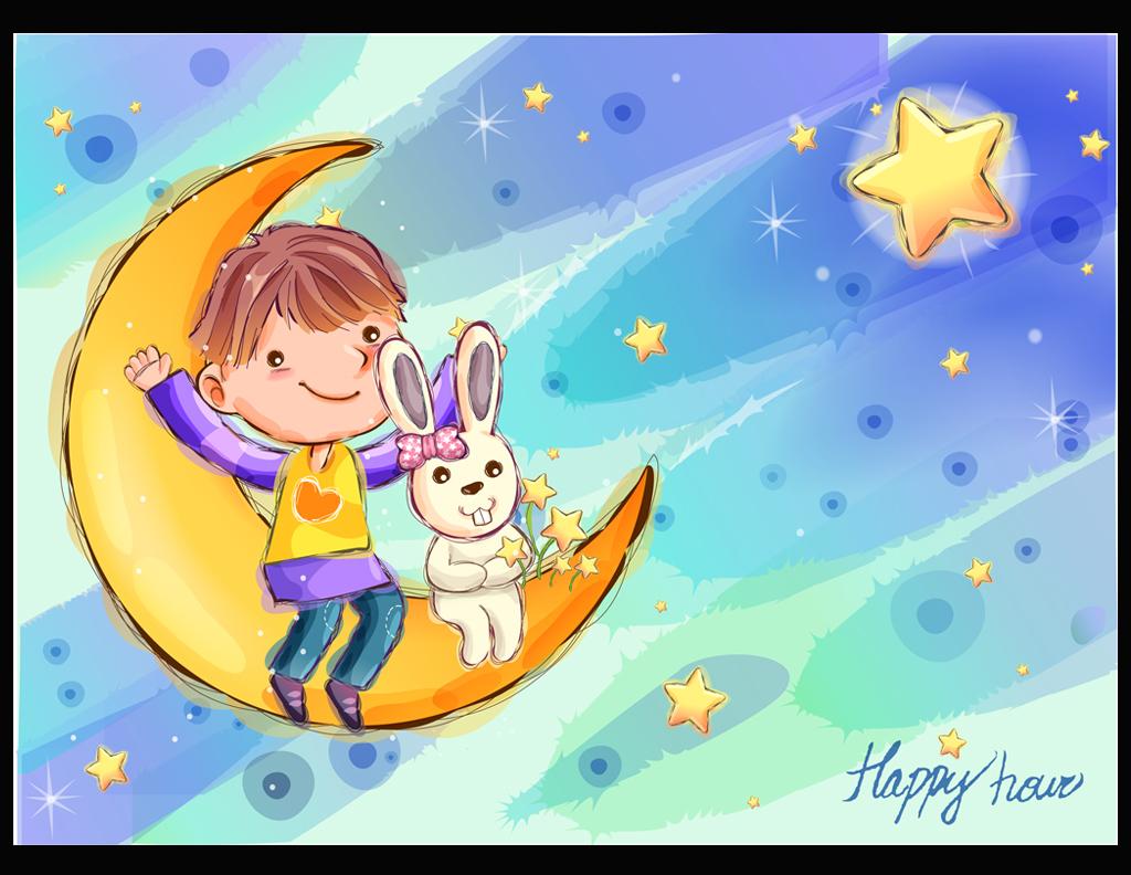 卡通画儿童装饰画墙画壁画蓝色月牙小白兔星光星月