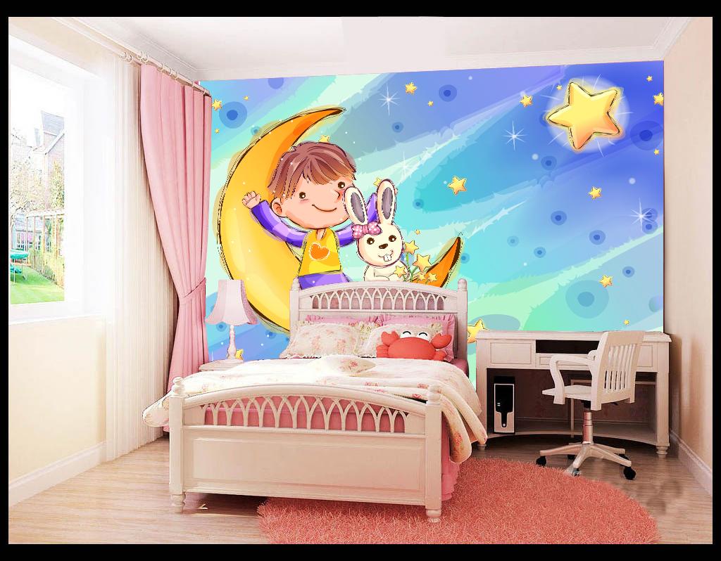 矢量手绘月亮星星儿童卡通儿童房背景墙壁纸