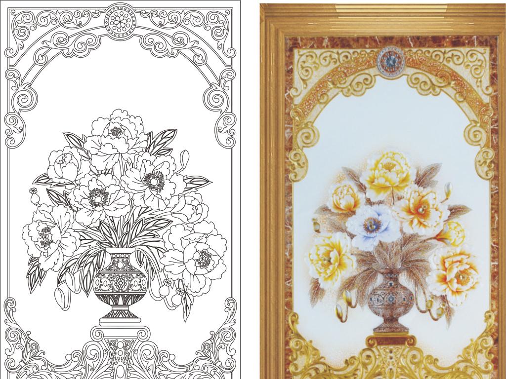 线条图欧式花欧式框花瓶牡丹牡丹花花花纹欧式花瓶