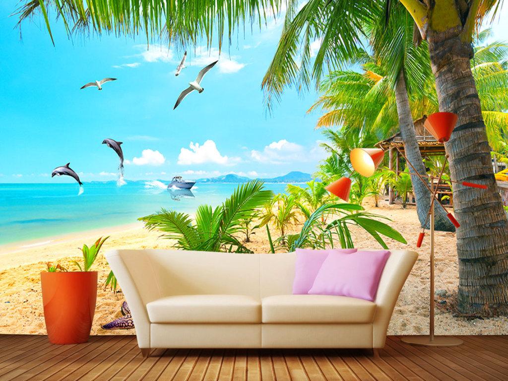 沙滩海滩椰树蓝天白云海景背景墙