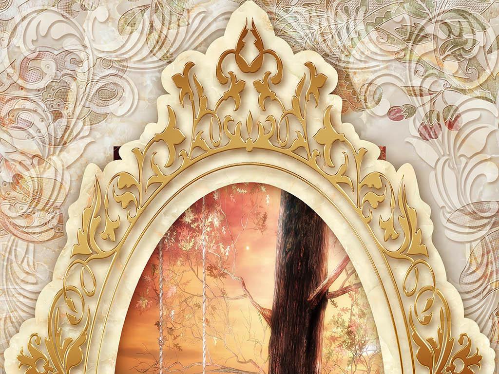 天鹅湖大理石浮雕欧式花纹玄关