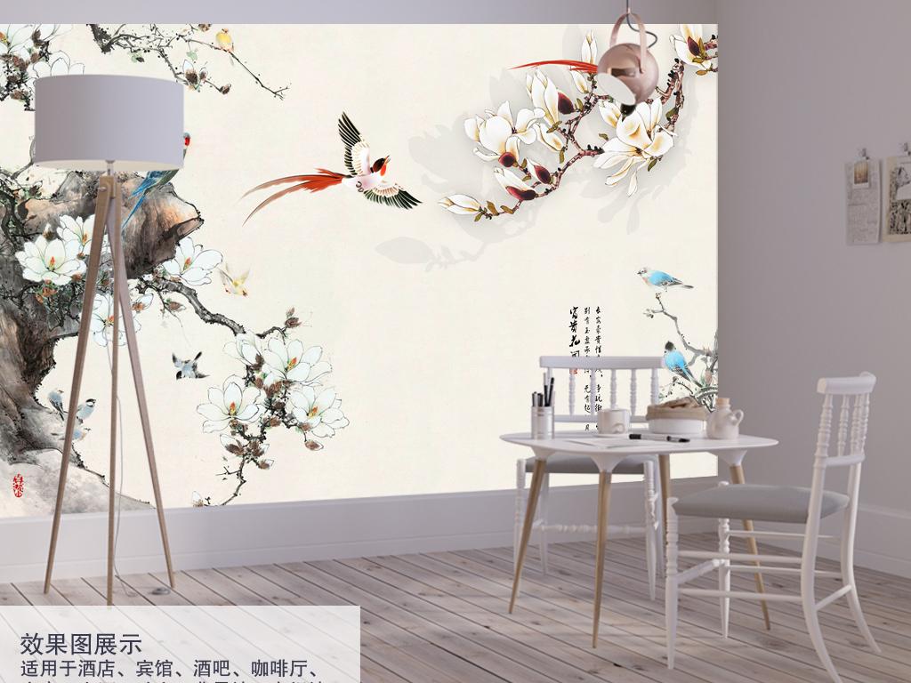 清新素雅仿古手绘背景墙中式中式花鸟中式背景手绘
