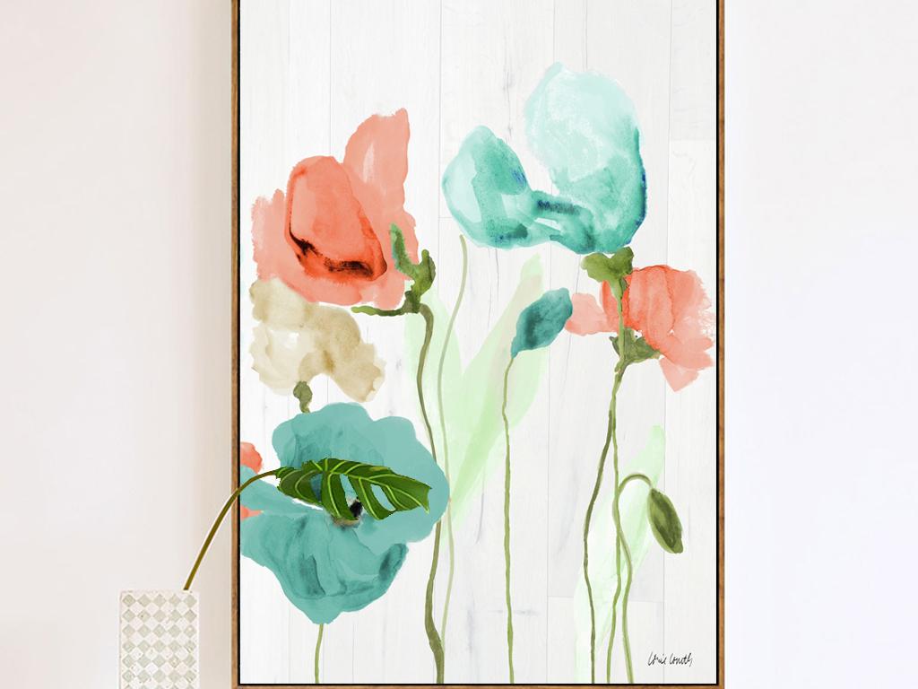 背景墙|装饰画 无框画 植物花卉无框画 > 三色透明花水彩油画郁金香