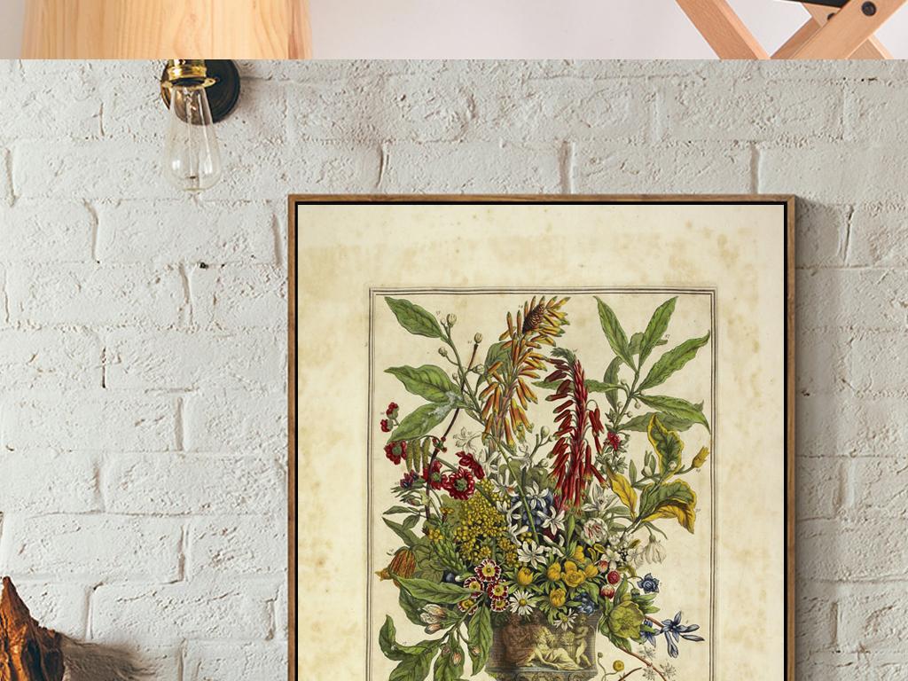 欧式复古典啊怀旧浮雕纹玄关花卉装饰画